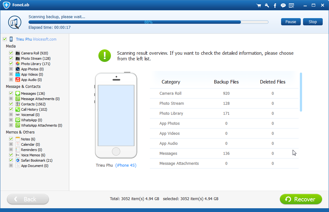 FoneLab recuperación datos después de actualización iPhone