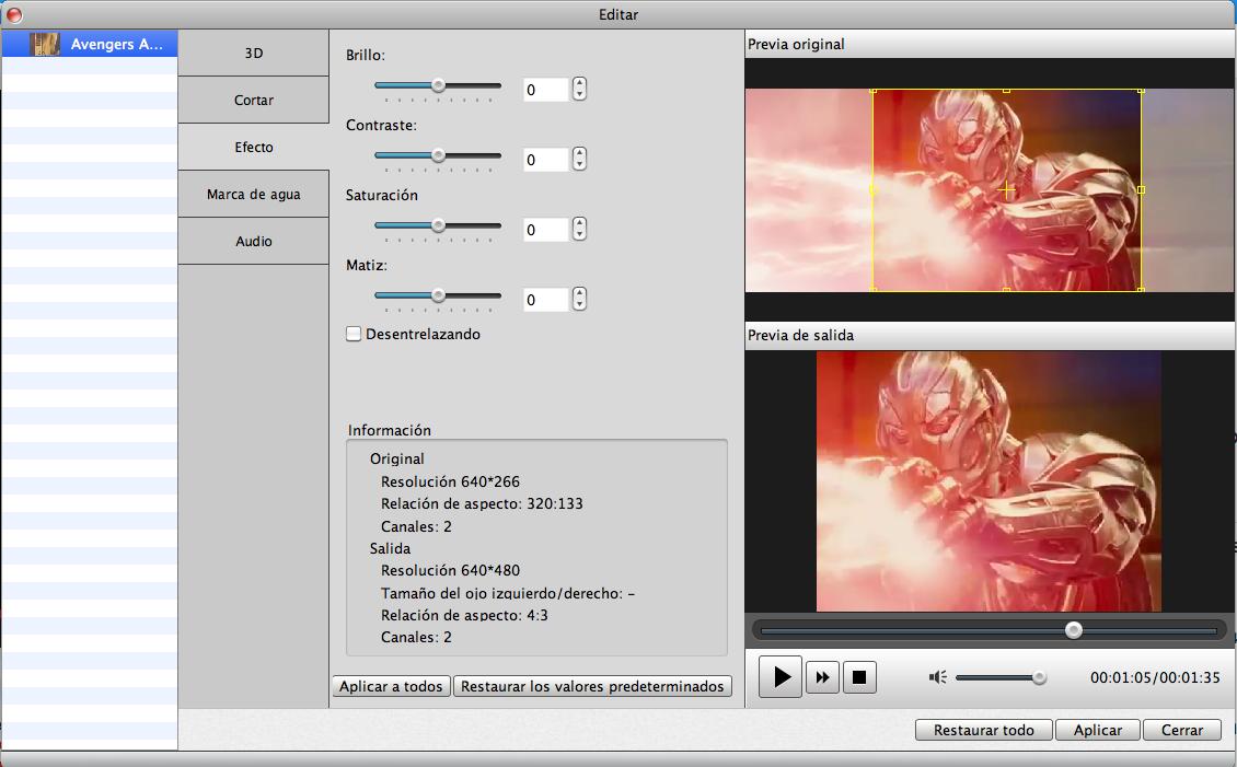 Visualizar efecto en video