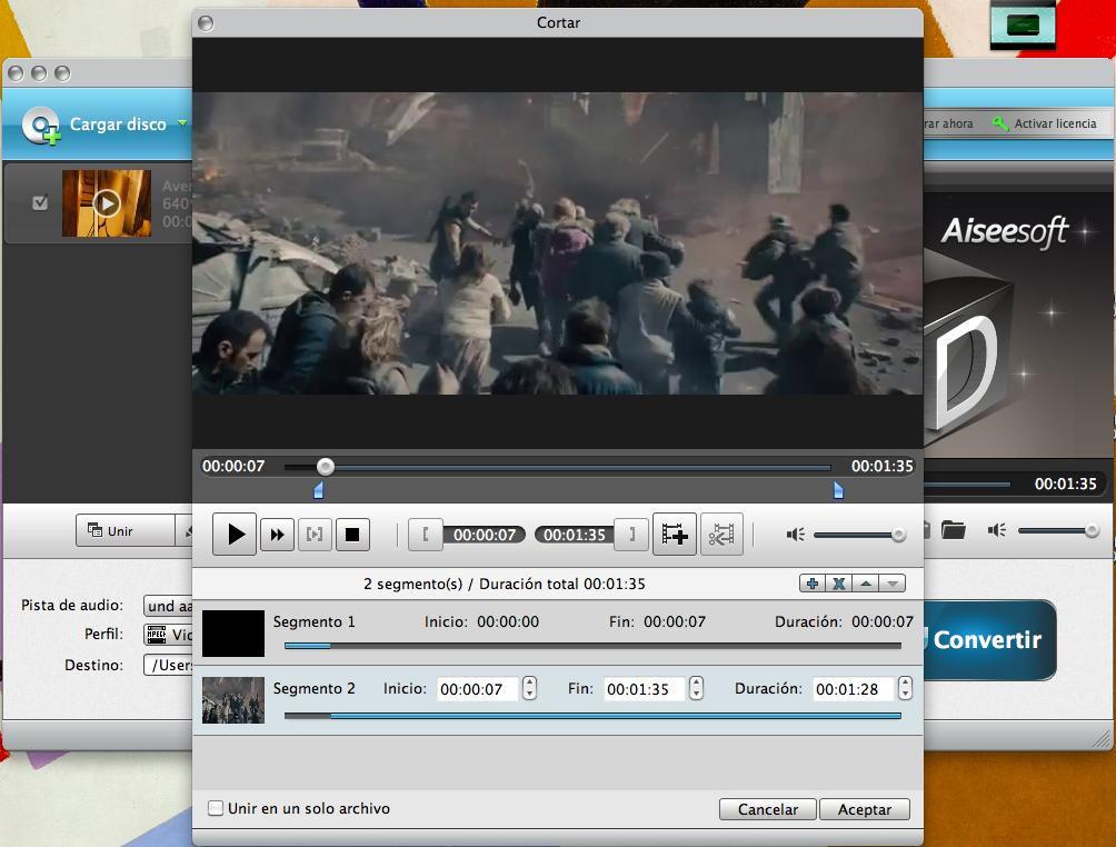 Cortar segmentos de video