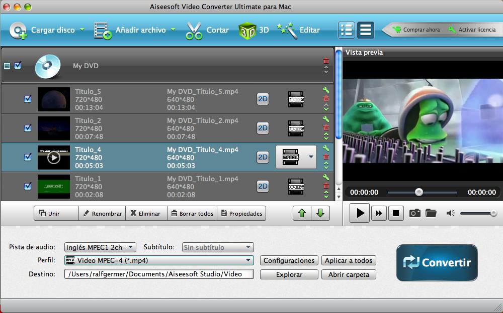 Visualizar videos de DVD