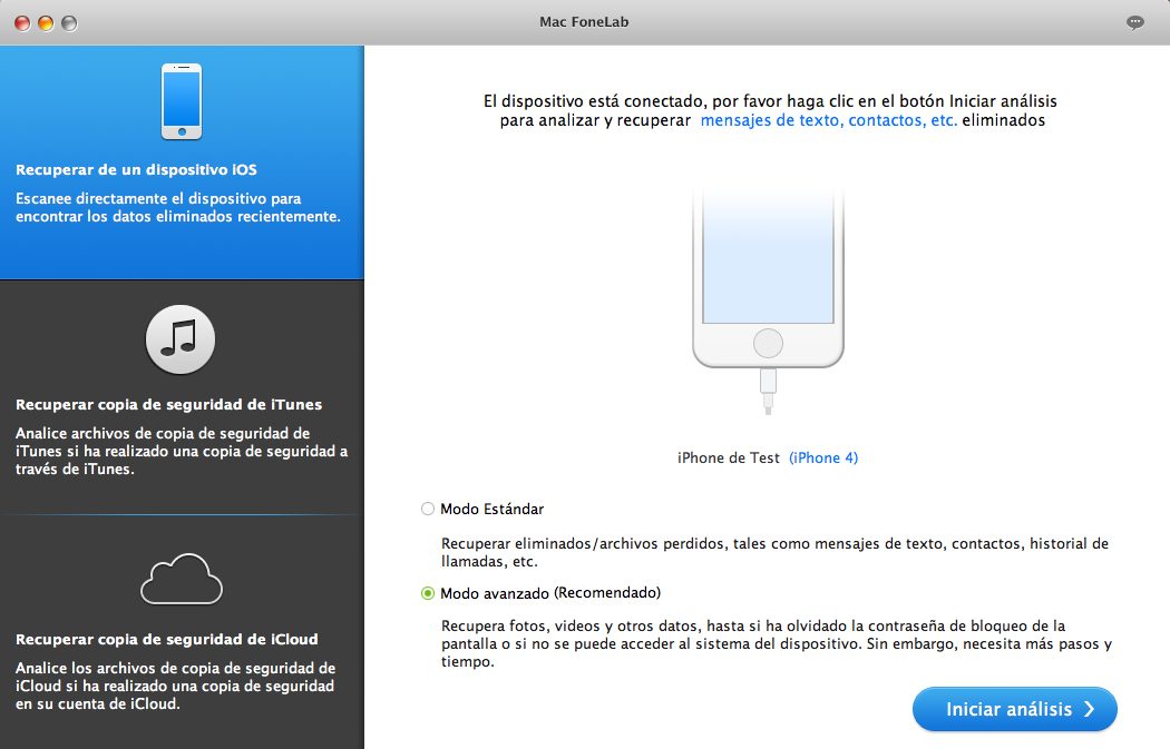 Recuperar datos de iPhone 4/3GS