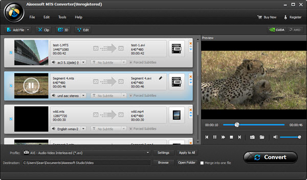 Abrir sus archivos MTS en el Aiseesoft Video Converter Ultimate