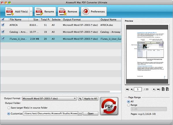 Hacer clic en PDF para iniciar la conversión