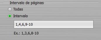 Insertar el intervalo de páginas deseado