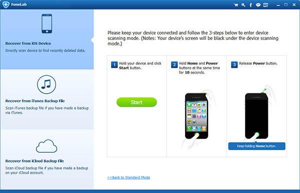 Seguir los pasos para iniciar el análisis y encontrar notas eliminadas iPhone