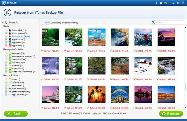 Seleccionar las fotos deseadas y  hacer clic en Recuperar