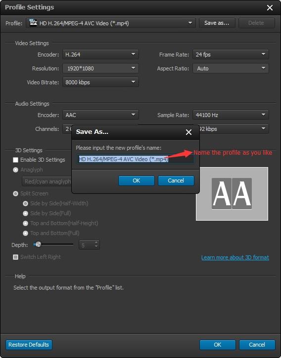 Renombrar perfil de conversión para facilitar conversión de video