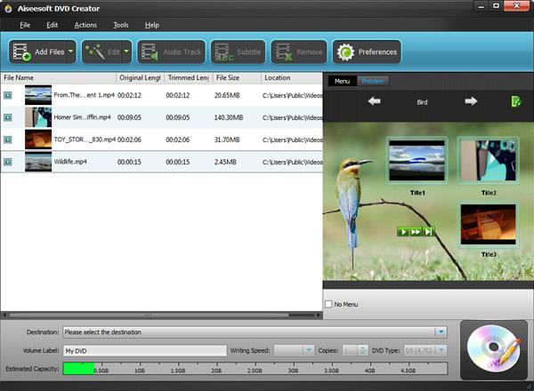 Adicionar los videos que desee grabar al programa