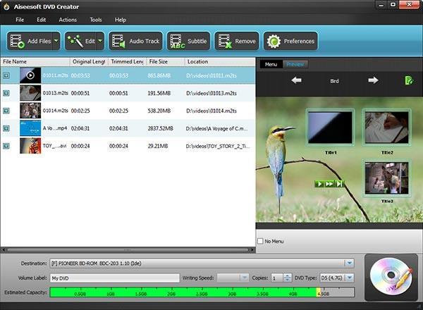 Adicionar los archivos que desee grabar al programa
