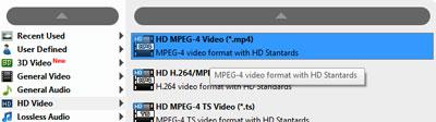 Seleccionar el formato HD MPEG-4 Video