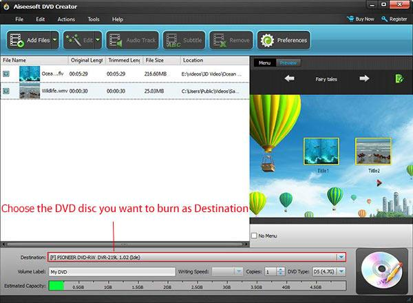 Seleccionar el tipo de DVD y el destino de su conversión
