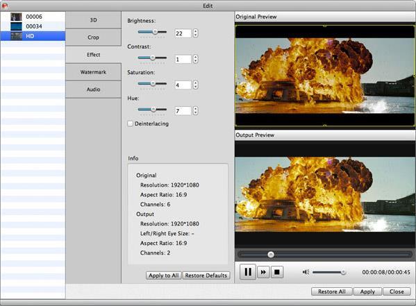 Ajustar el brillo y otros efectos de su video