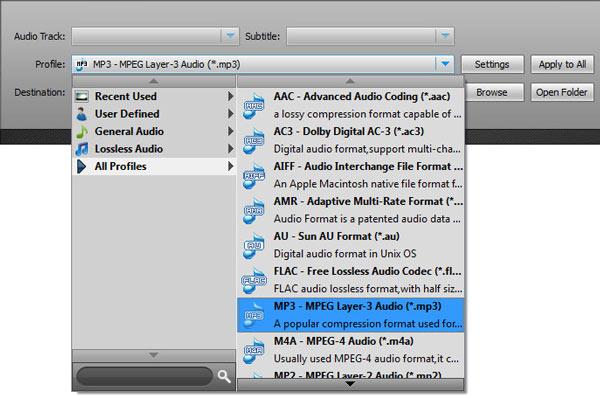 Seleccionar el formato MP3 en la lista de perfiles