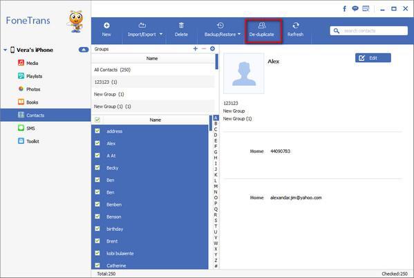 Hacer clic en la opción para eliminar contactos repetidos