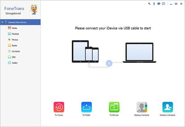 Abrir el FoneTrans y conectar su iPod al PC