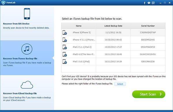 Seleccionar el modo Recuperar de archivo de copia de seguridad del iTunes