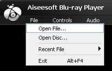 Seleccionar Abrir archivo en el menú Archivo para reproducir Blu-ray