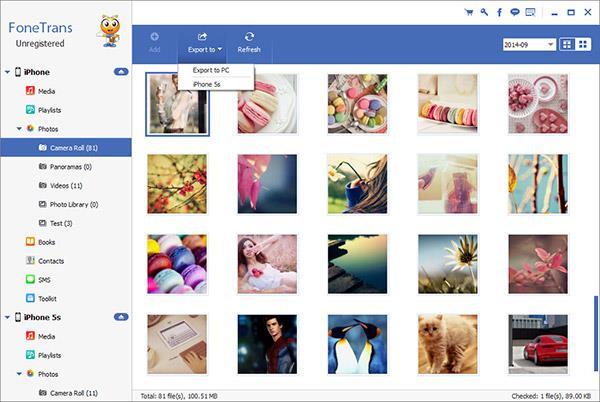 Marcar las fotos que desea transferir