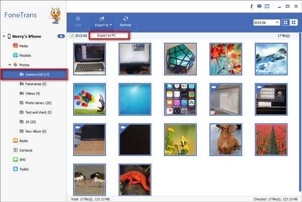 Exportar sus fotos a la PC