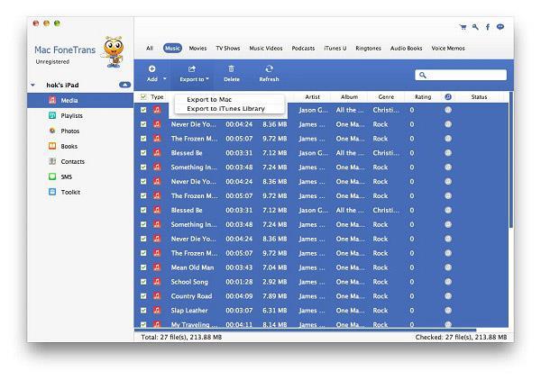 Seleccionar y transferir sus músicas al Mac