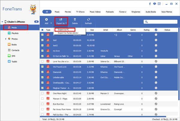 Exportar los archivos deseados