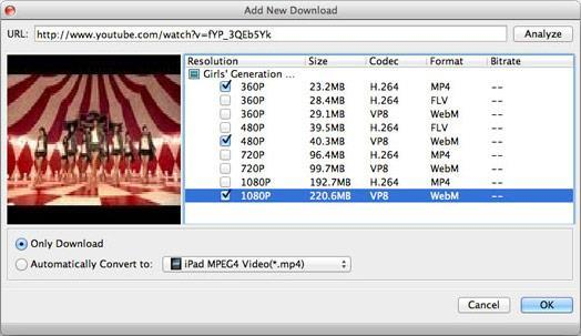Copiar la URL del video y hacer clic en Descargar