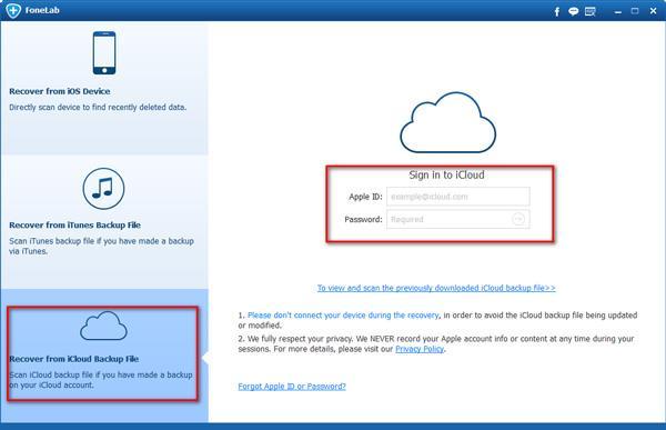 Entrar en su cuenta del iCloud en el FoneLab