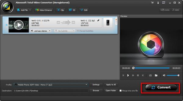 Iniciar la conversión de sus videos en FLV a 3G2