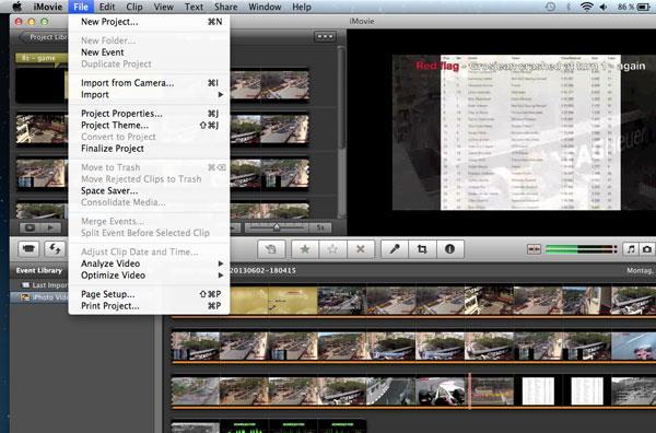 Abrir su video en el iMovie