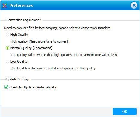 Seleccionar la calidad de conversión de sus archivos