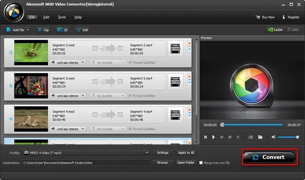 Iniciar la conversión de sus archivos de MOD a WMV AVI MP3 MOV o MPG