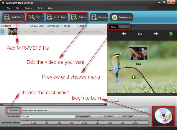 Grabar su DVD con archivos MTS