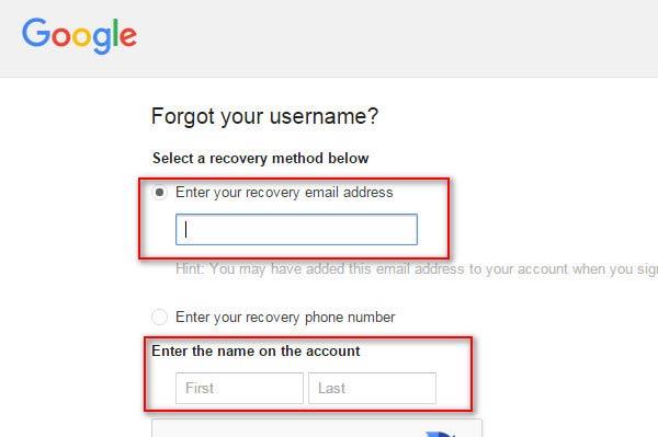 Digitar su dirección de e-mail de recuperación