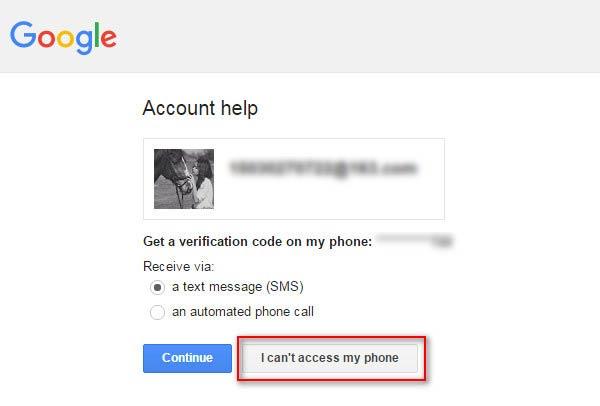 Seleccionar la opción No es posible acceder a mi teléfono