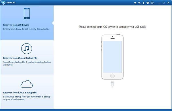 Abrir el FoneLab y conecte su iPhone