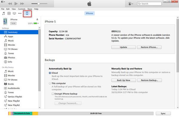 Abrir el menú de su dispositivo en el iTunes