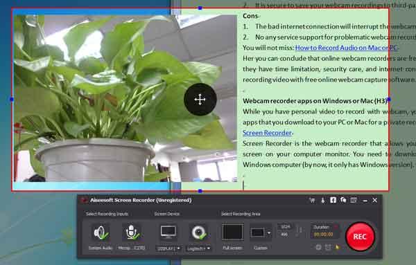 Grabar videos de la webcam con el Screen Recorder