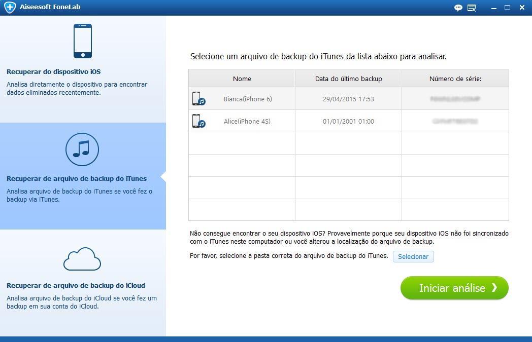 Abrir el programa Aiseesoft FoneLab y seleccionar la copia de seguridad para iPhone deseada