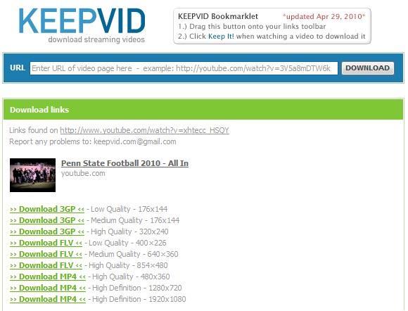 KeepVid para guardar videos de streaming