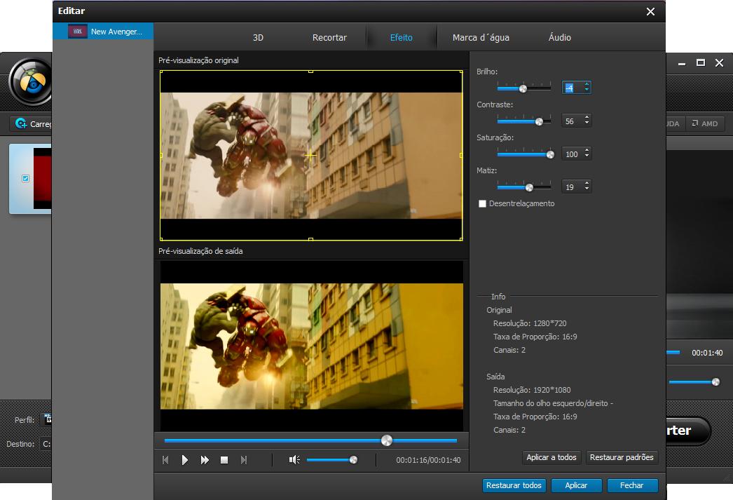Edite seu vídeo MP4 para melhorar resolução ou ativar opções personalizadas