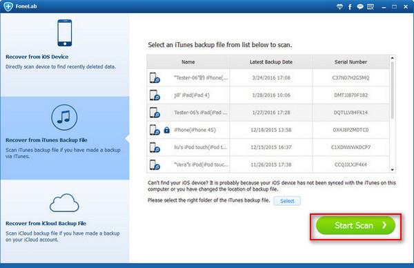 Paso 2 Gerenciar copias de seguridad iTunes FoneLab