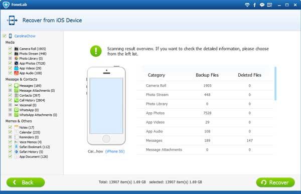 Passo3 Recuperar iPhone danificado FoneLab
