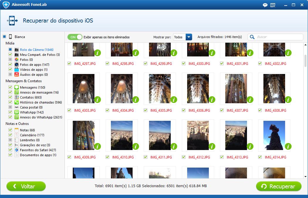 Selecione os arquivos de fotos que deseja recuperar