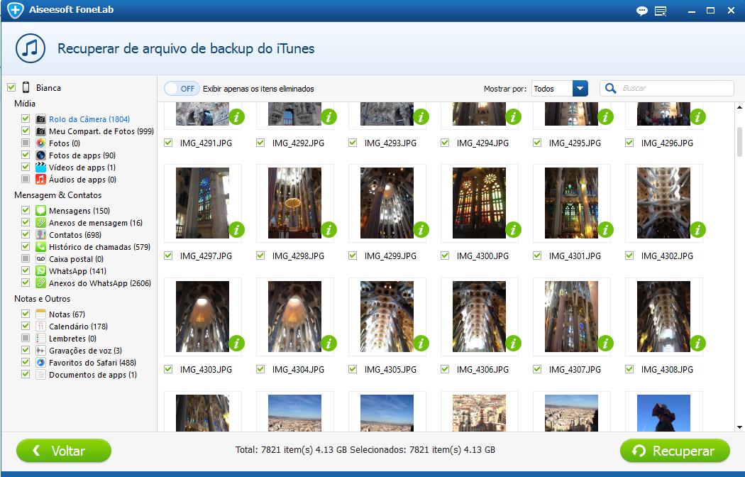 Marque as fotos que quer resgatar do iPod touch e clique em Recuperar