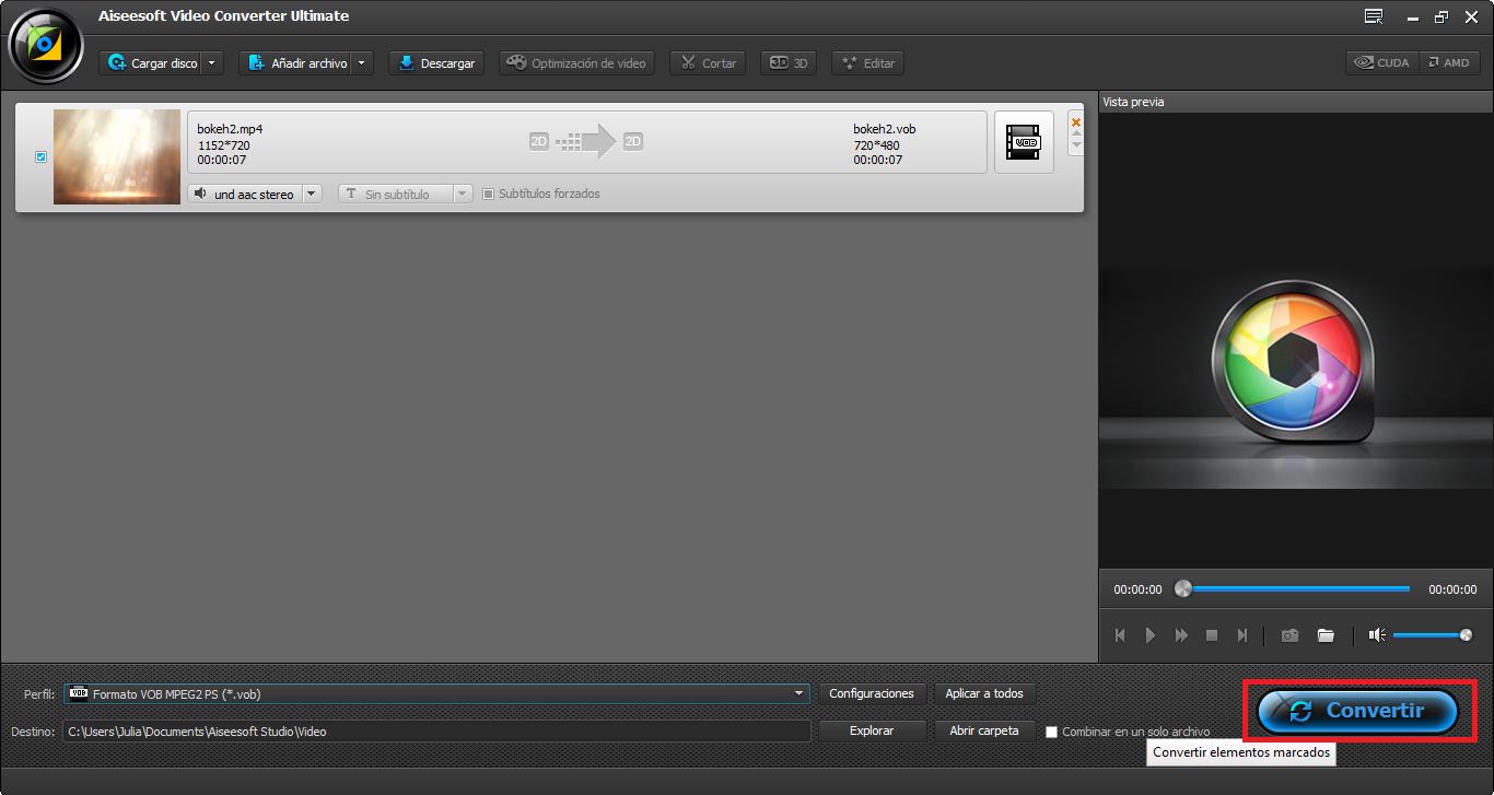 Hacer clic en convertir para finalizar la conversión de MP4 a 4K