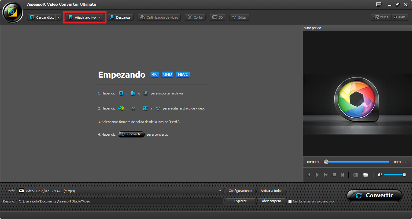 Instalar el Video Converter Ultimate e importar el archivo MP4 para el programa