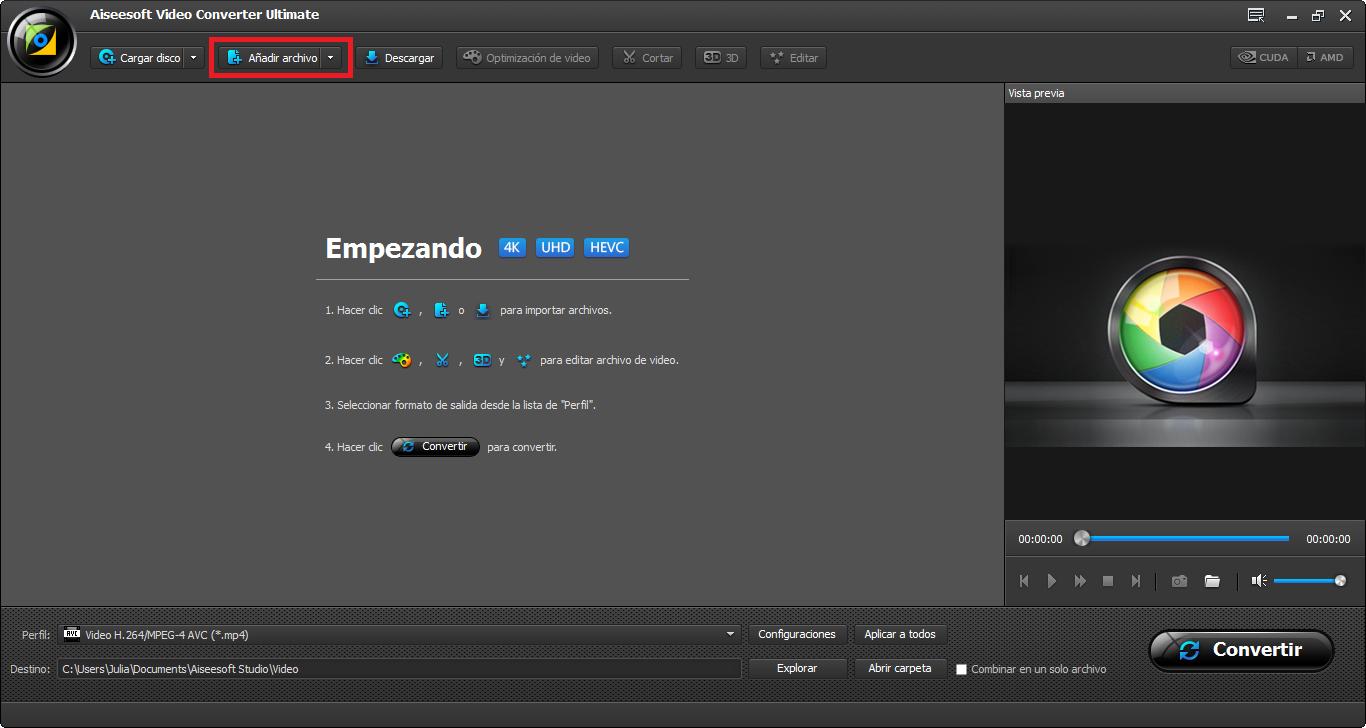Abrir el Video Converter Ultimate e importar el archivo .mp4 para el programa
