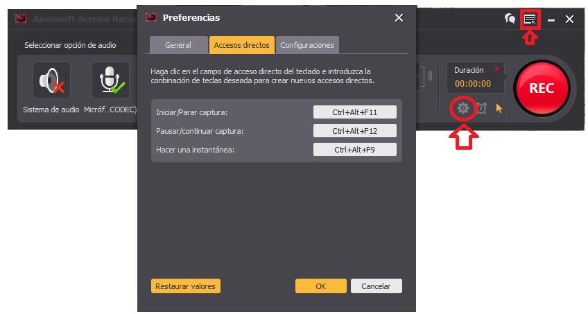 Definir accesos directos para grabar la pantalla del PC