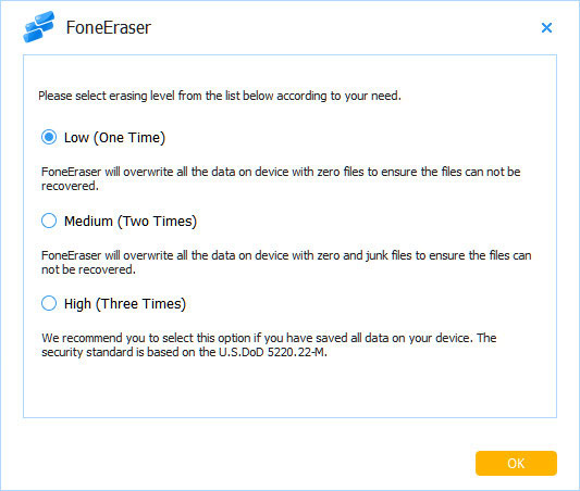 Passo 2 Resetar iPad FoneEraser