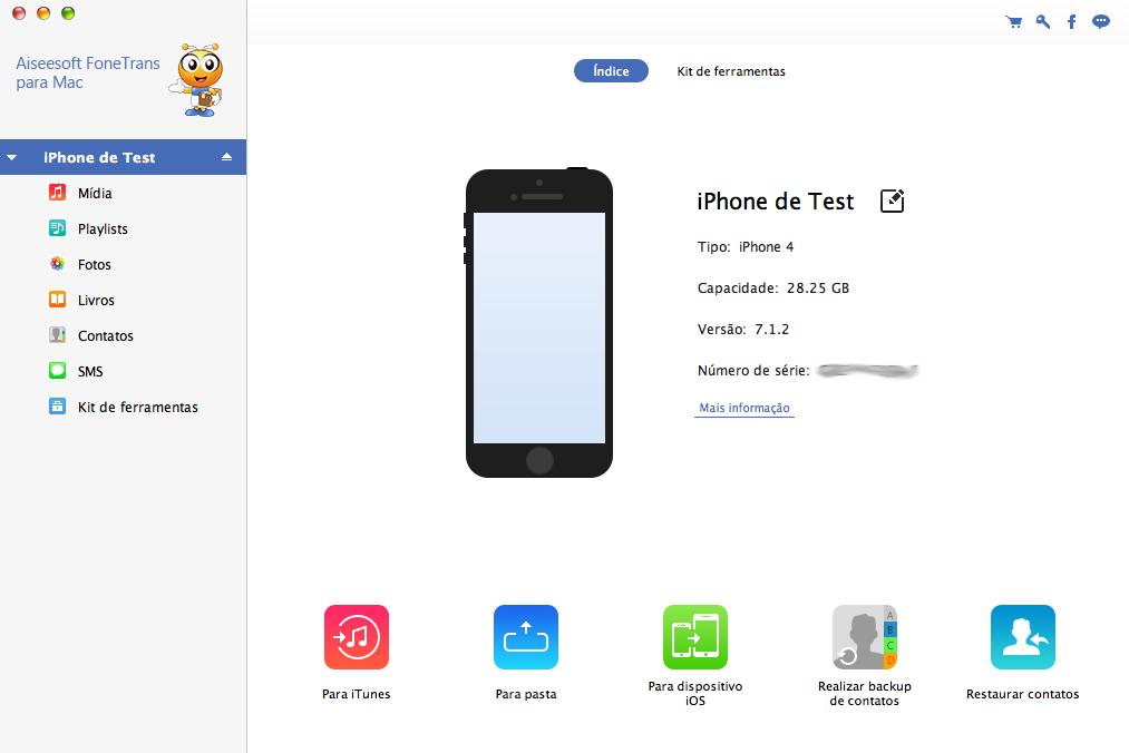 FoneTrans Mac - software transferir vídeos iPad para Mac
